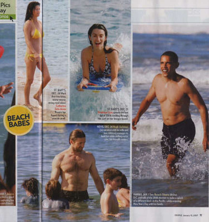 Sen. Barack Obama, D-Ill., far right, caught hitting the wearing swim trunks in the Beach Babes pages in the January 15 issue of People magazine. Photo: People Magazine