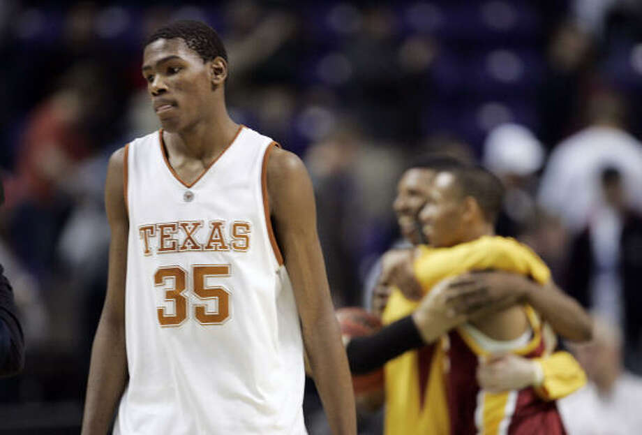 If UT freshman Kevin Durant returns to Austin next season, he'll have another shot at taking the Longhorns deep into the NCAA Tournament. Photo: Elaine Thompson, AP