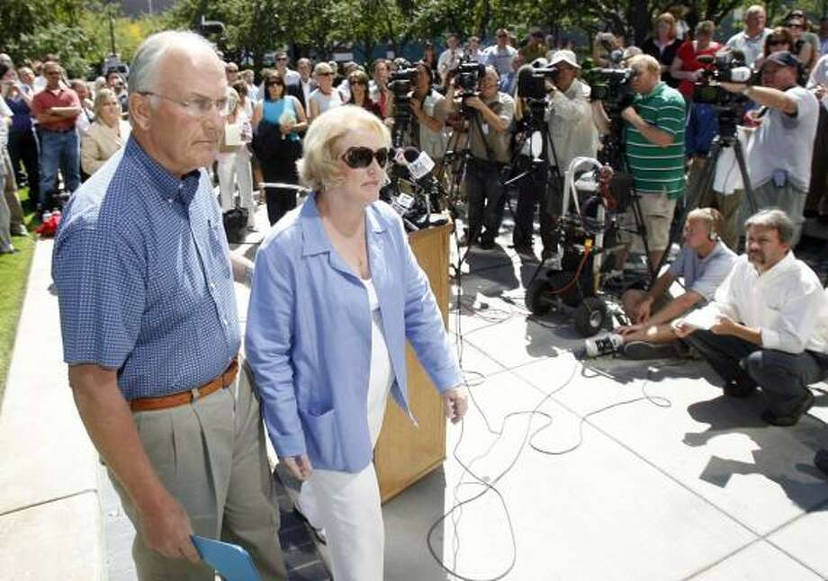 """Sen. Larry Craig went before reporters in August in Boise, Idaho, to declare, """"I am not gay."""" Since then he has been unable, for the most part, to wield clout the way he once did. Photo: JOE JASZEWSKI, IDAHO STATESMAN FILE"""