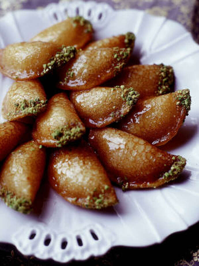 SAVE TIME:Using commercial pancake mix and shelled pistachios are shortcuts to making Ataiyef (Stuffed Syrian Pancakes). Photo: Quentin Bacon, Ecco