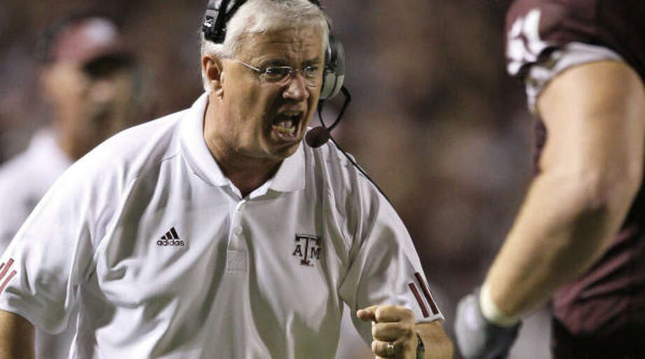 Dennis Franchione is in his fifth year at Texas A&M. Photo: David J. Phillip, AP