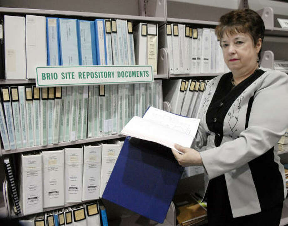 Records that Marie Flickinger produced are among those in the Brio Superfund site repository at the San Jacinto College South Campus. Flickinger admits that getting the site cleaned up became an obsession. Photo: Kim Christensen, For The Chronicle