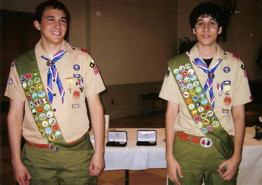 Bradley Holubec, left, and James Debo of Boy Scout Troop 505 earned the rank of Eagle Scout. Photo: Photo Courtesy Troop 505
