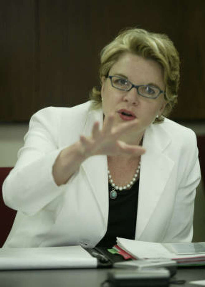 U.S. Secretary of Education Margaret Spellings discussing President Bush's No Child Left Behind program with the Houston Chronicle's editorial board in May 2005. Photo: BUSTER DEAN, CHRONICLE