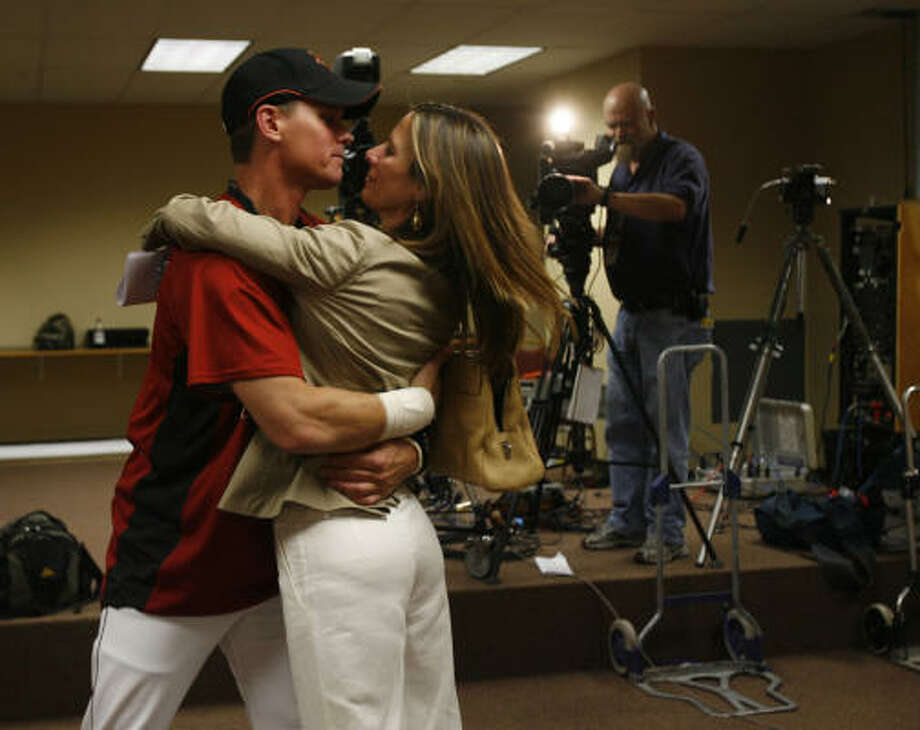 "Craig Biggio's wife, Patty, was by his side for his announcement.""When he comes in from the road, it's all about us, never about him,"" she said. ""He's done the best he could when he's been away about keeping in touch and staying involved in the kids' lives."" Photo: Karen Warren, Chronicle"