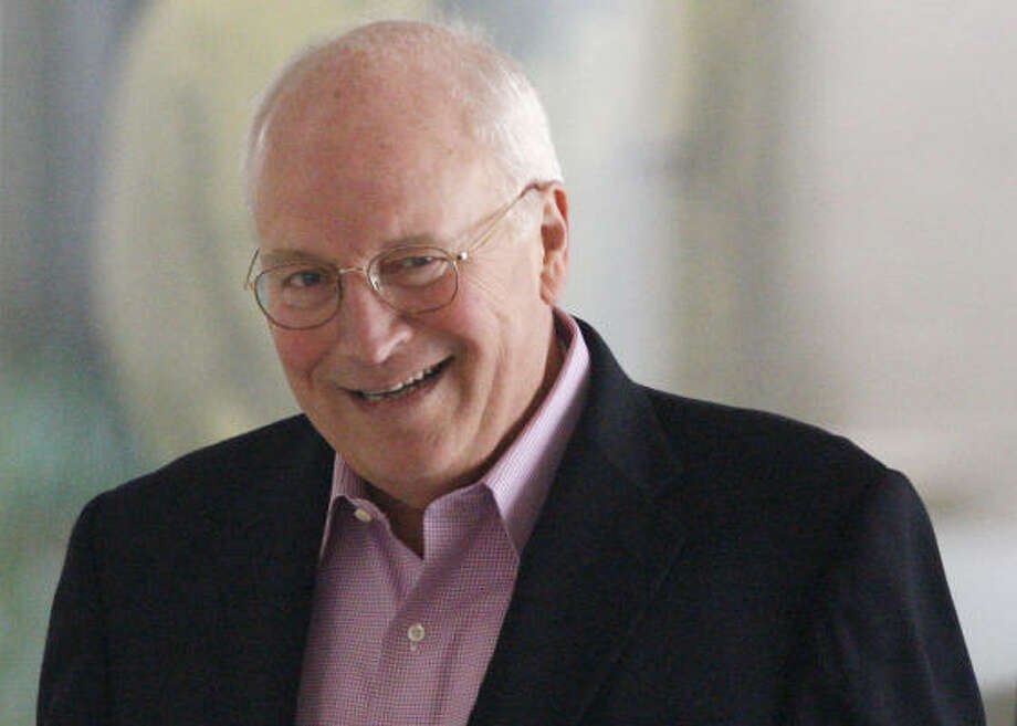 Vice President Dick Cheney smiles as he leaves George Washington University hospital in Washington, Saturday after minor surgery to replace the battery that powers a device monitoring his heart rhythms. Photo: Charles Dharapak, AP