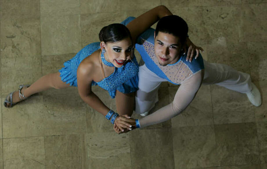 Houston teenagers Brittney Vega and Jared Bernal who placed second last week in the Junior World Salsa Competition in Puerto Rico The duo beat out 24 other couples from around the world. Photo: Johnny Hanson, For The Chronicle