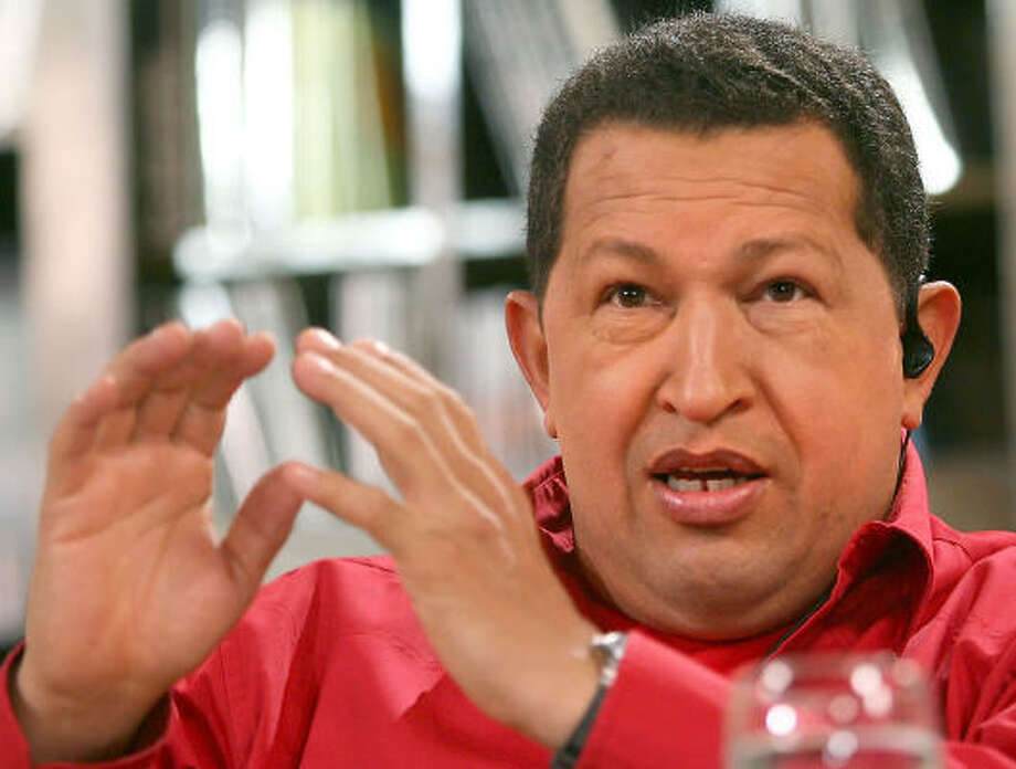 In this photo released by Miraflores Press Office, Venezuelan President Hugo Chavez gestures during his weekly television show 'Hello President' in Caracas on  Jan. 21. Photo: Francisco Batista, AP