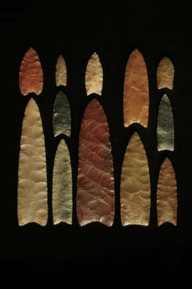 "A Texas A&M researcher has found evidence challenging the ""Clovis-first"" theory of the first people in the Americas. The are Clovis points of quartz. Photo: Texas A&M University"