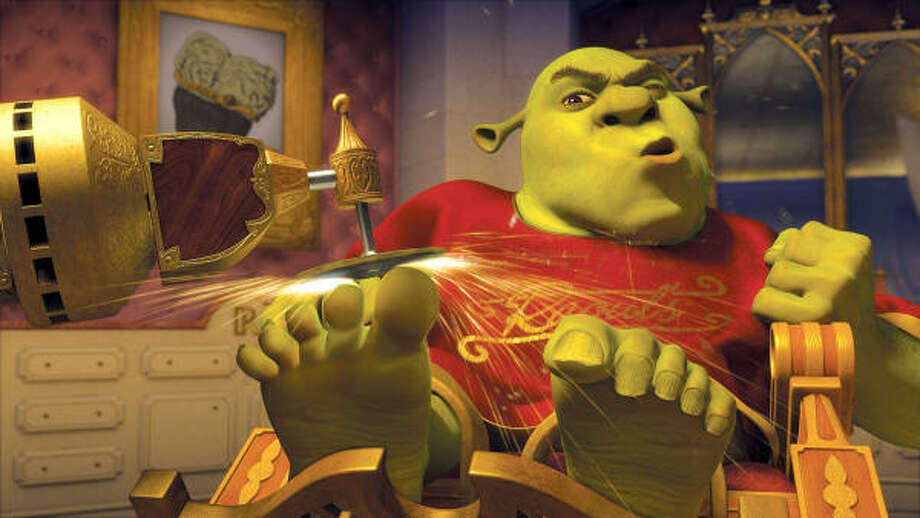 Shrek (Mike Myers) begrudgingly submits to a royal primping as he prepares to stand in as the king of Far Far Away, in Shrek the Third. Photo: Courtesy Photo