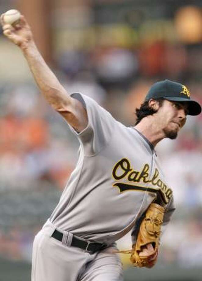 Oakland's Dan Haren kept Baltimore's hitters off-balance all night. Photo: NICK WASS, AP