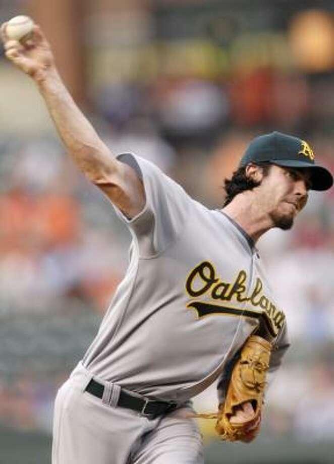Oakland's Dan Haren kept Baltimore's hitters off-balance all night. Photo: NICK WASS, AP