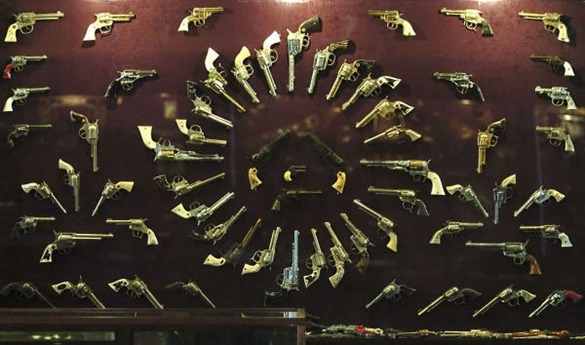 A display of toy cap guns in the collection of Charles Trios on display at a museum on the Trois Estate at Enchanted Rock near Fredricksburg.