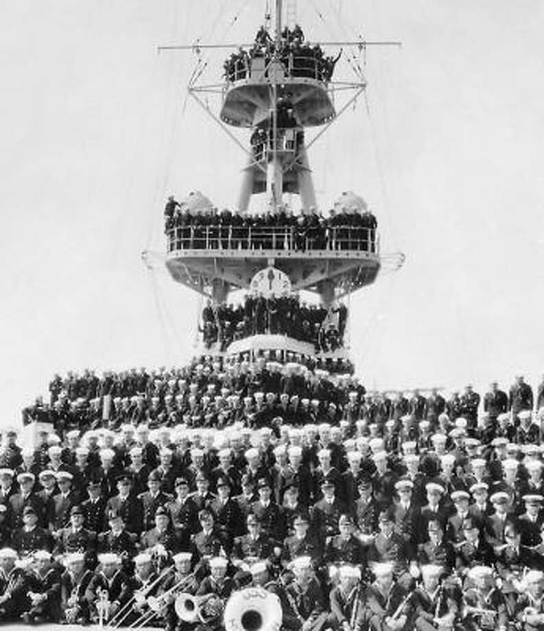 The crew of the USS Houston poses for this photo from the 1930s. The ship is the subject of the documentary Cruiser Houston: Of Pride and Purpose. Photo: Cruiser Houston Collection : Courtesy Of Special Collections,University Of Houston Libraries