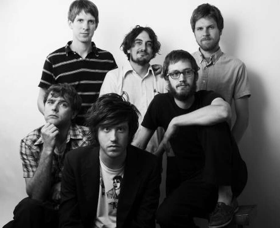 Okkervil River includes, from left, Patrick Pestorius, Jonathan Meiburg, Will Sheff, Travis Nelsen, Scott Brackett and Brian Cassidy. Photo: Todd Wolfson