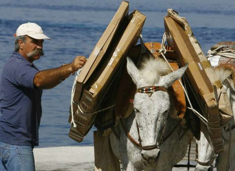 """The owner of a donkey checks packages on the Greek island of Hydra last week. Hydra has roughly 1,200 donkeys and mules. Only the town hall has motorized transport. """"They transport everything, from sewing pins to electrical refrigerators, anything you can imagine,"""" one owner says. Photo: THANASSIS STAVRAKIS PHOTOS, ASSOCIATED PRESS"""