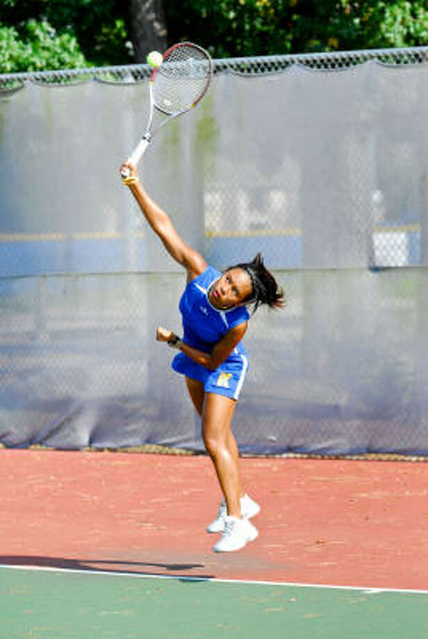 Klein top singles player Kim Anicete will have her hands full in Tyler with College Park and Plano West. But the Bearkat girls' depth is their strong suit, and they will attempt to upset top-ranked Plano West in Region II-5A action. Photo: Terry Carter, For The Chronicle