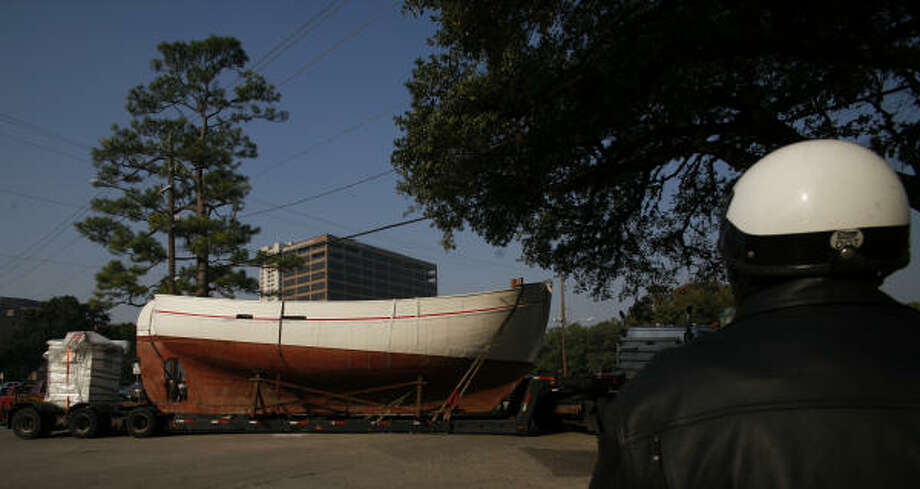 A Danish Rescue Boat arrives at the Holocaust Museum Houston, Friday. The 37' long, 18 ' tall, 25 ton vessel is from the same time period and identical in features to the boats used to evacuate more than 7,200 Jewish Danish population to sanctuary in Sweden. Photo: Steve Ueckert, Chronicle