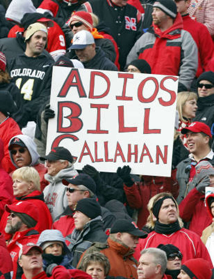 Nebraska fans who traveled to Boulder, Colo., for yesterday's game weren't shy about what they wanted to happen to Bill Callahan. Photo: David Zalubowski, AP