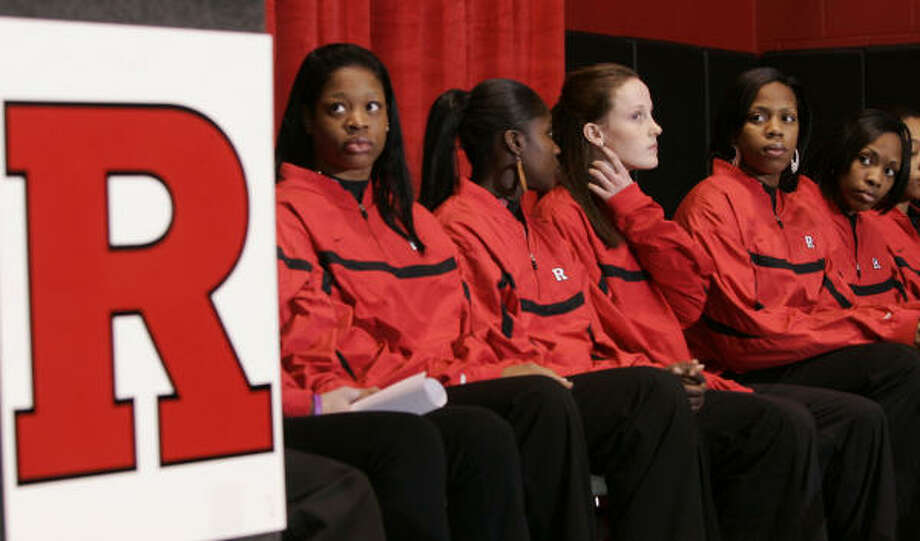 Some members of the Rutgers University women's basketball team speak on Tuesday during a news conference held on campus in Piscataway, N.J., to respond to derogatory remarks directed at their team made on air by radio's Don Imus. Photo: MIKE DERER, ASSOCIATED PRESS