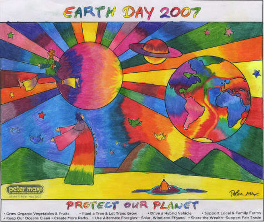Shannon McBay, 12, a student at Barbers Hill Middle School in Mont Belvieu, received one of three grand prizes in the Chronicle's Peter Max Earth Day Coloring Contest for this entry.