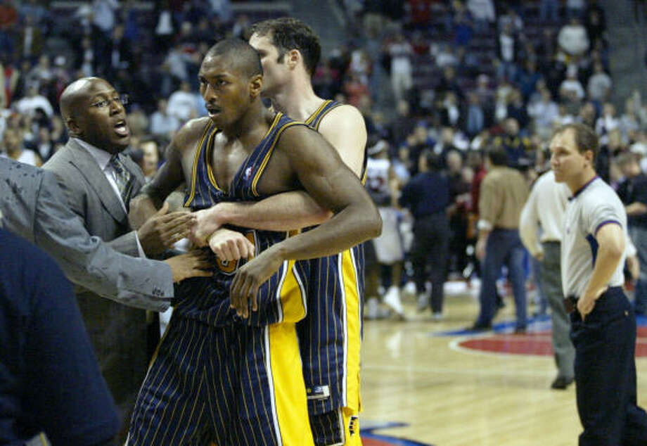 NBA bad boy Ron Artest, pictured, and Stephen Jackson were suspended by the league for seven games on Saturday. Photo: DUANE BURLESON, AP