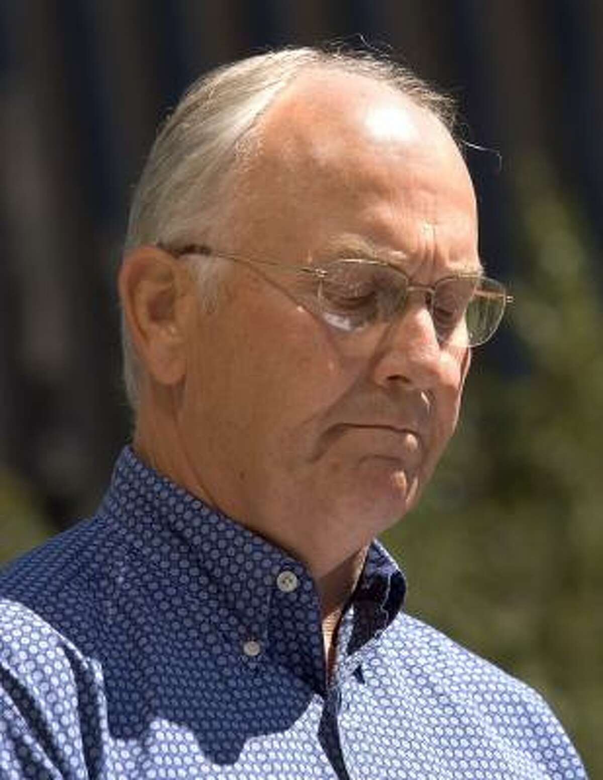 Idaho's Republican Senator Larry Craig, shown today at a news conference, pleaded guilty after his arrest during a sex sting in a Minneapolis airport men's room.
