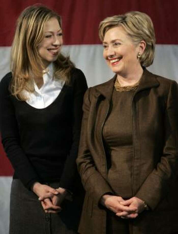 Hillary Clinton campaigns with daughter Chelsea in Denison on Thursday. Photo: STAN HONDA, AFP/GETTY IMAGES