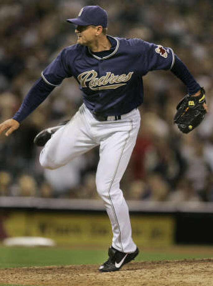 Trevor Hoffman picked up his 496th save on Saturday night. Photo: Lenny Ignelzi, AP