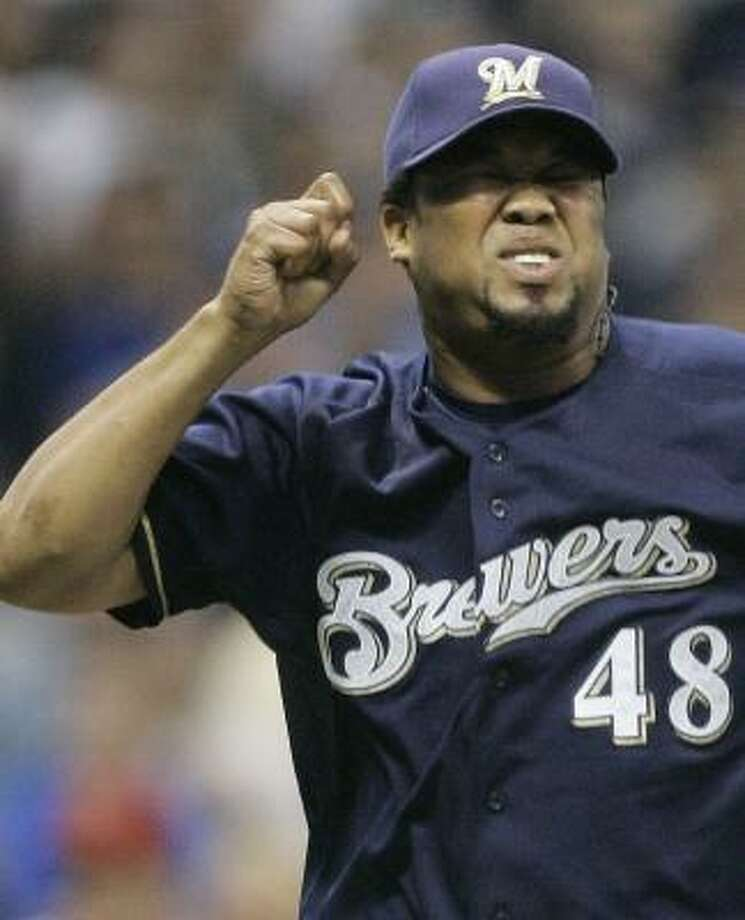 The Brewers' Francisco Cordero gets pumped up about striking out the side in the ninth. Photo: MORRY GASH, AP
