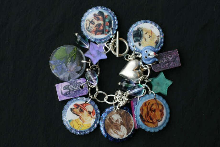 A dog-themed bracelet was custom designed by Elizabeth Kyle of Santa Fe, N.M. Photo: Sharon Steinmann, Houston Chronicle