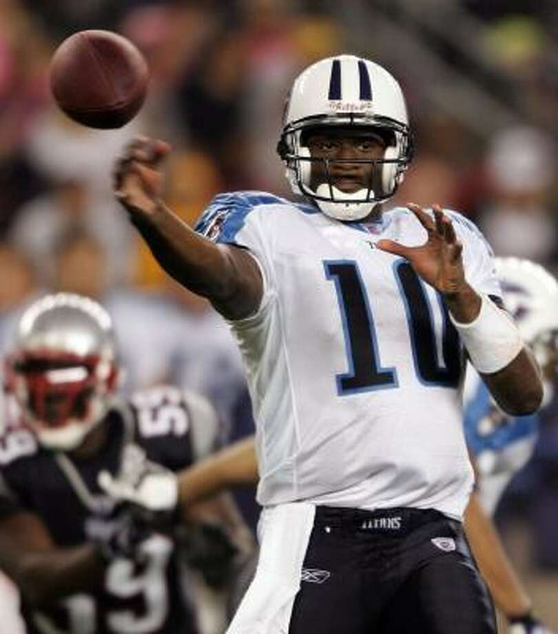 Vince Young had it rough in his first preseason action Friday, completing just five of 17 passes for 102 yards against New England. Young sat out last week's exhibition opener for the Titans after being suspended for violating a team rule. Photo: Elsa, GETTY IMAGES