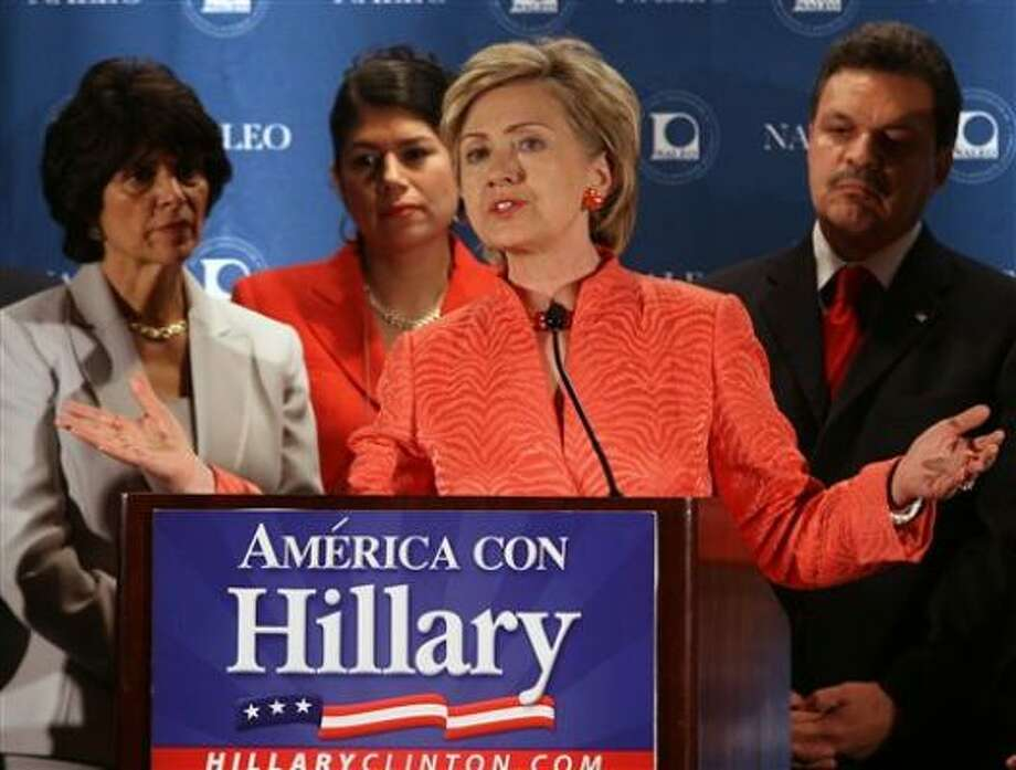 Democratic presidential candidate Sen. Hillary Rodham Clinton, D-N.Y., addresses members of the National Association of Latino Elected and Appointed Officials in Orlando Fla., Saturday. Photo: Reinhold Matay, AP