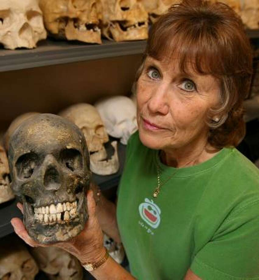 Sharon Long of Laramie, Wyo., has molded and cast more than 200 skulls in her career as a forensic sculptor. Photo: ANDY CARPENEAN, ASSOCIATED PRESS