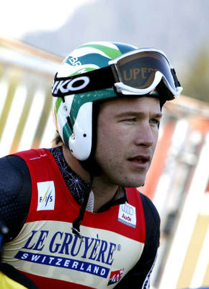 Bode Miller of the United States peers back at the course today in Lenzerheide, Switzerland, shortly after making his final Super-G run. Photo: Agence Zoom, Getty Images