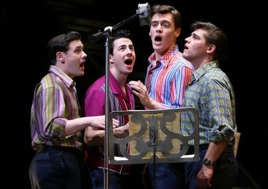 Michael Ingersoll, from left, Christopher Kale Jones, Erich Bergen and Deven May star in the Broadway production of Jersey Boys. The show, which won the 2006 Tony for best musical, will be in Houston next year. Photo: CAROL ROSEGG, Joan Marcus