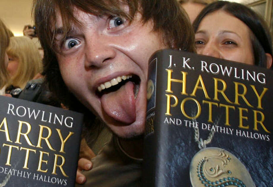 Russian fan expresses himself as he gets hold of Harry Potter and the Deathly Hallows. More than 8 million copies were sold worldwide in the first 24 hours of the book's release. Photo: MIKHAIL METZEL, AP