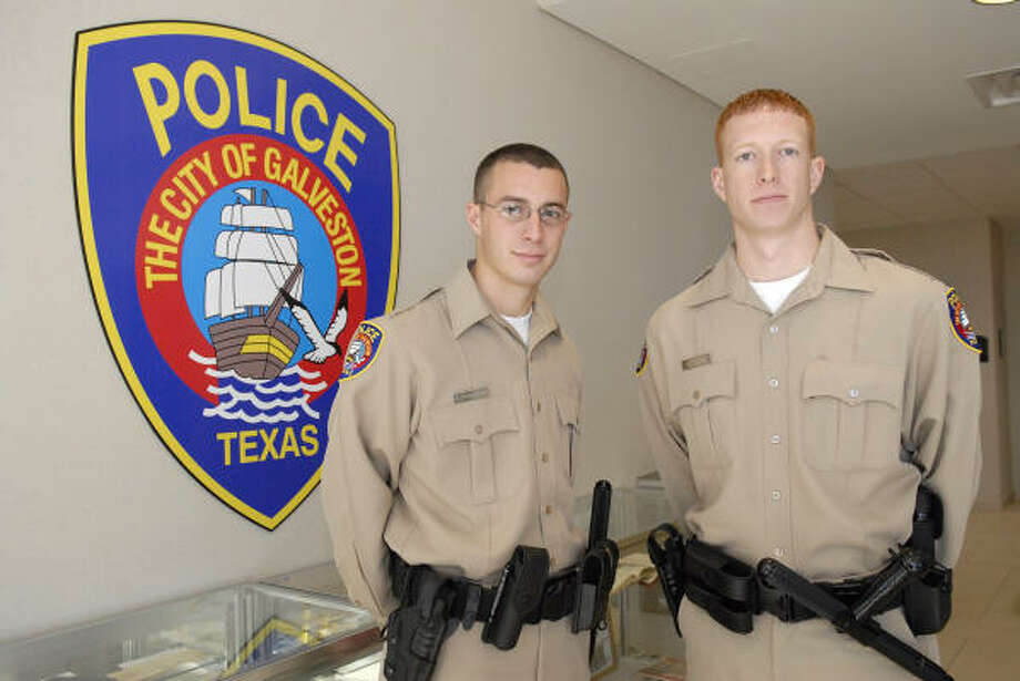 Christopher Sanderson, 21, and his brother Robert, 23, are the Galveston Police Department's newest recruits at the Galveston Police Academy. Robert is a former Friendswood police officer. Photo: Kim Christensen, For The Chronicle