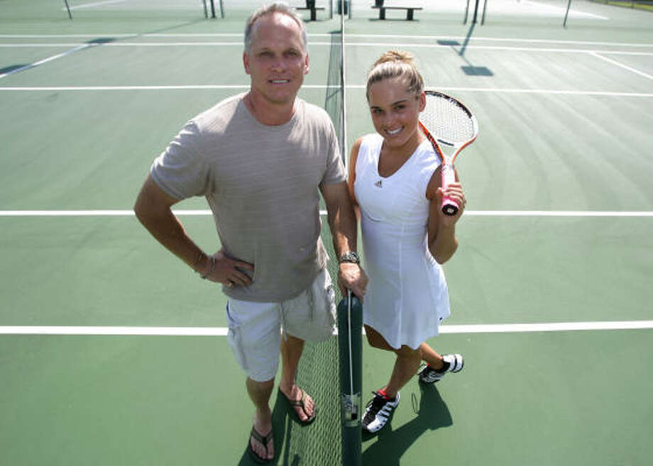 Klein mixed doubles state champ Lauren Santacroce's fierce competitiveness comes from her father, David. Photo: BILLY SMITH II, CHRONICLE