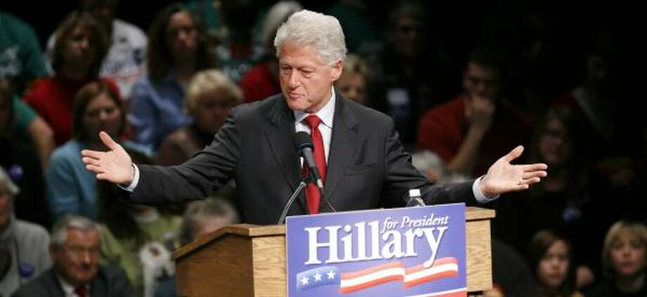 "Former President Clinton barnstorms Monday for his wife, Sen. Hillary Rodham Clinton, in Ames, Iowa. He described her as ""the most gifted person of our generation."" Photo: CHARLIE NEIBERGALL, ASSOCIATED PRESS"