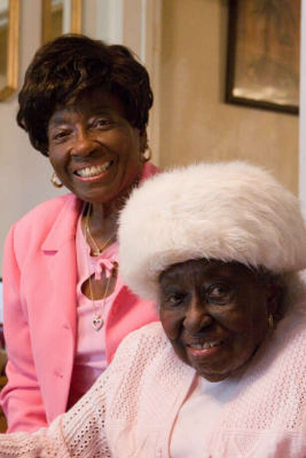 Azalean Carter Williams, 100, with daughter Birdia Williams Churchwell, traveled from her home in southwest Houston to Prairie View A&M University March 2 to help induct the late tennis coach Charles Lewis into the Prairie View Sports Hall of Fame. Churchwell is a retired Houston school district teacher and administrator and an educational consultant, who has taught at Bellaire High School and the High School for the Performing and Visual Arts. Photo: R. Clayton McKee, For The Chronicle