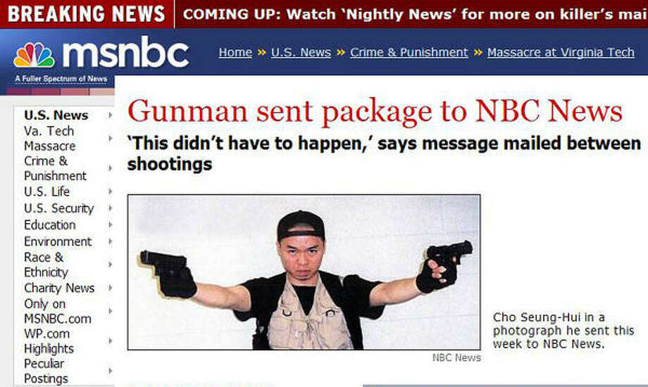 MSNBC's Web site shows a photo of Cho Seung-Hui, the alleged shooter in the Virginia Tech University massacre. Cho is holding what is believed to be the weapons used in the killings of 33 people, including himself. Photo: AFP/Getty Images