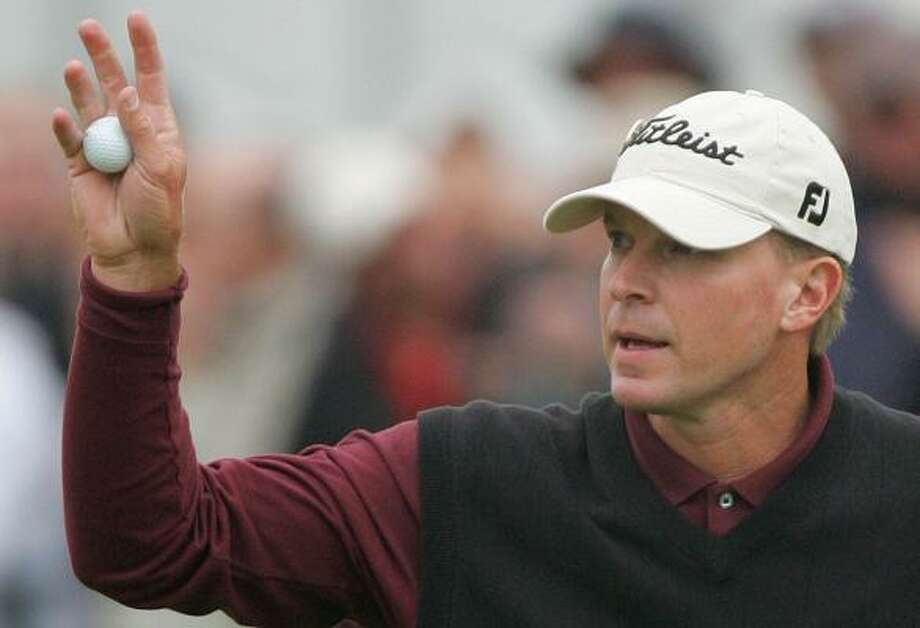 Steve Stricker birdied seven of his first 14 holes en route to a 7-under 64 — a Carnoustie course record for a British Open. Photo: ALASTAIR GRANT, ASSOCIATED PRESS
