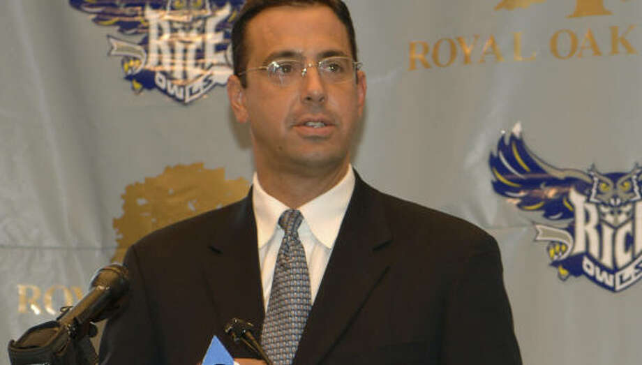 Rice athletic director Chris Del Conte says he will be thorough in his effort to find a football coach for the school. Photo: Thomas LaVergne, Rice University