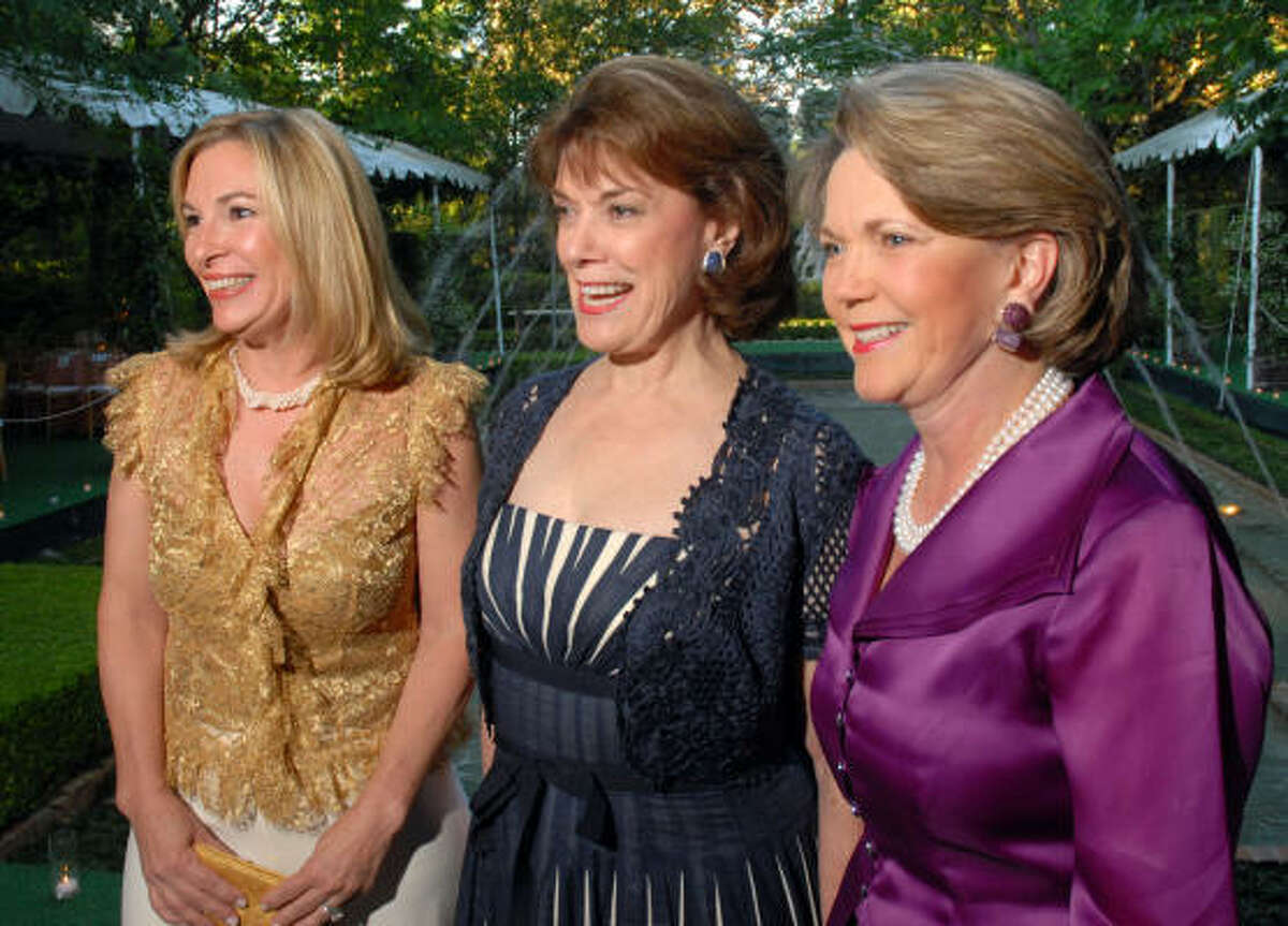 Key to Bayou Bend's $25 million campaign for construction of a visitors center are campaign co-chair Nancy Abendshein, from left, the center's namesake Jeanie Kilroy and campaign chair Pam Ott.