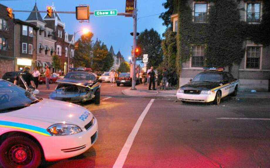 A crash involving two police cruisers at this intersection killed a 4-year-old bystander, Daviay Legrand, on Wednesday in Allentown, Pa. Photo: FRANK WIESE PHOTOS, THE MORNING CALL