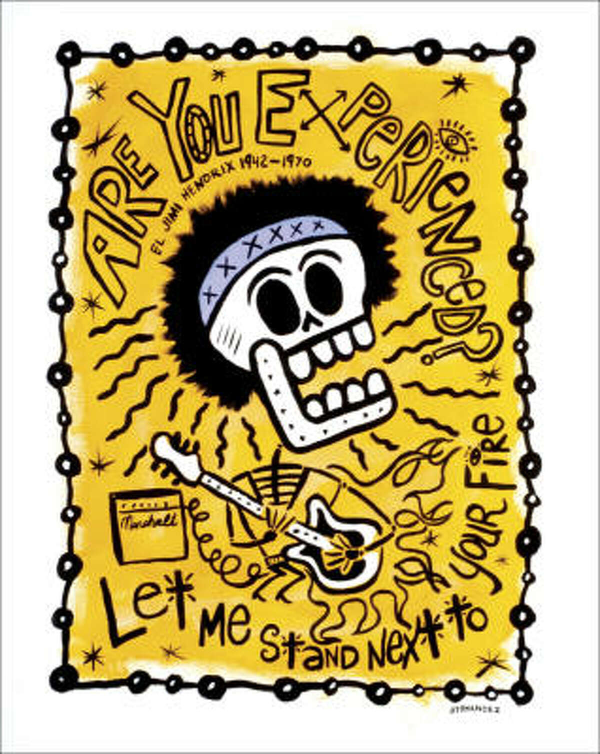 El Jimi by Carlos Hernandez is on display in the Day of the Dead Rock Stars exhibit at the Record Ranch Gallery.