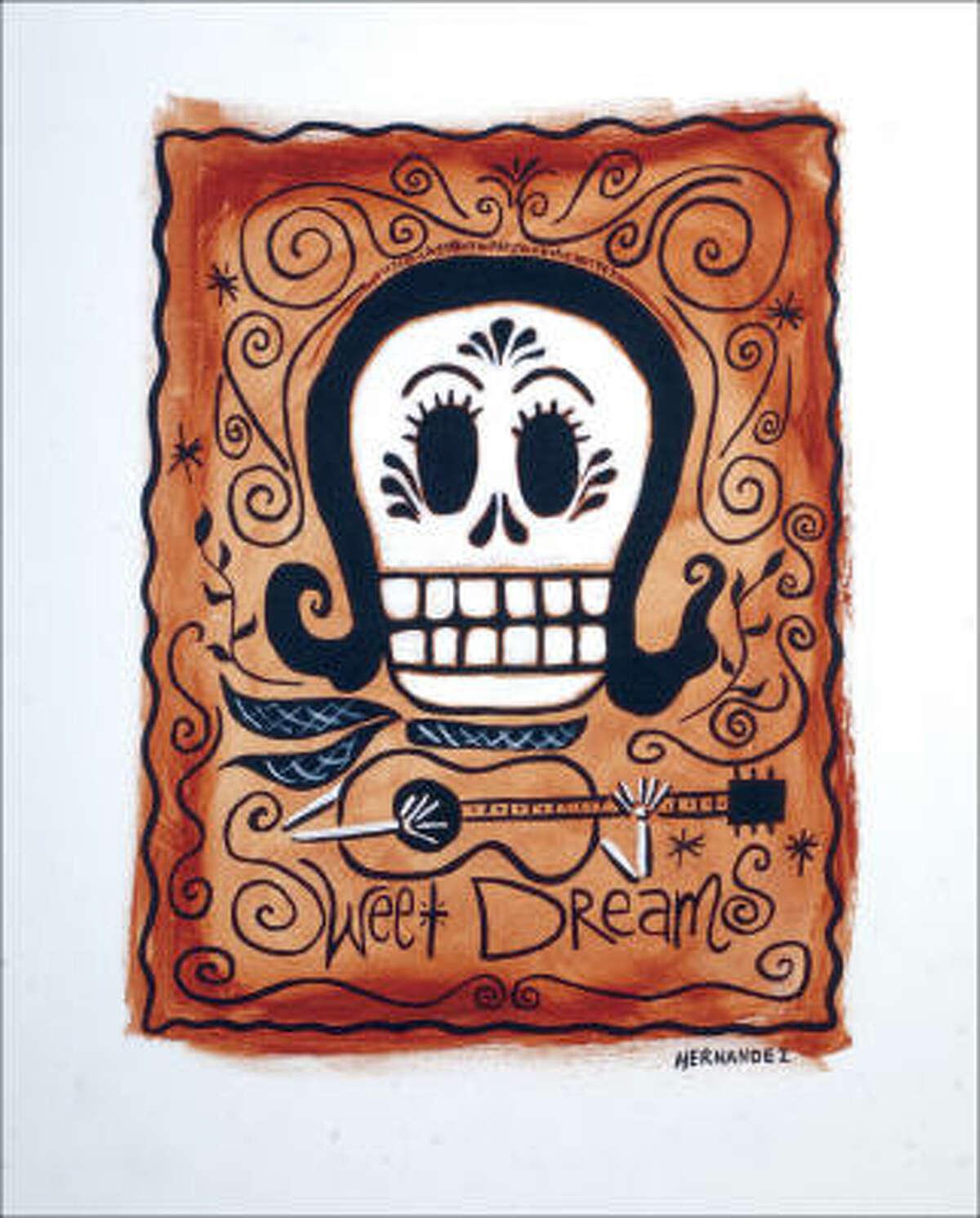 La Senora Patsy Cline by Carlos Hernandez is in the Day of the Dead Rock Stars exhibit.