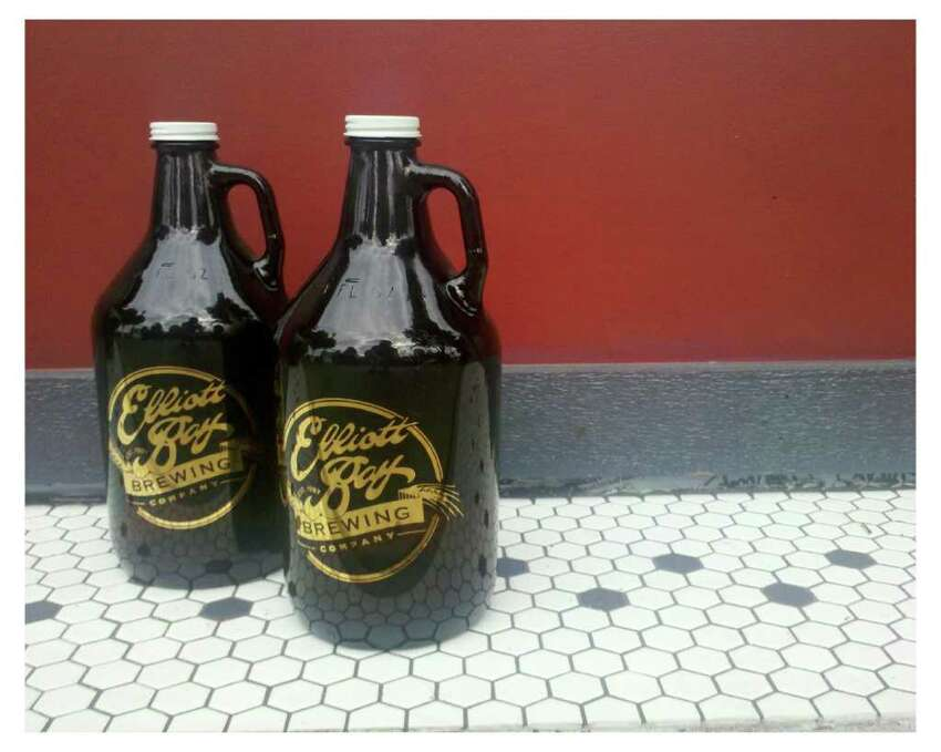 A beer growler is seen near the entrance of Elliott Bay Brewery in West Seattle on Tuesday, Aug. 9, 2011.