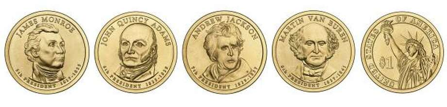 The four dollar coins to be issued in 2008 feature the likenesses of James Monroe, John Quincy Adams, Andrew Jackson and Martin Van Buren. The image on the right shows the reverse of the coins. Photo: TREASURY DEPARTMENT